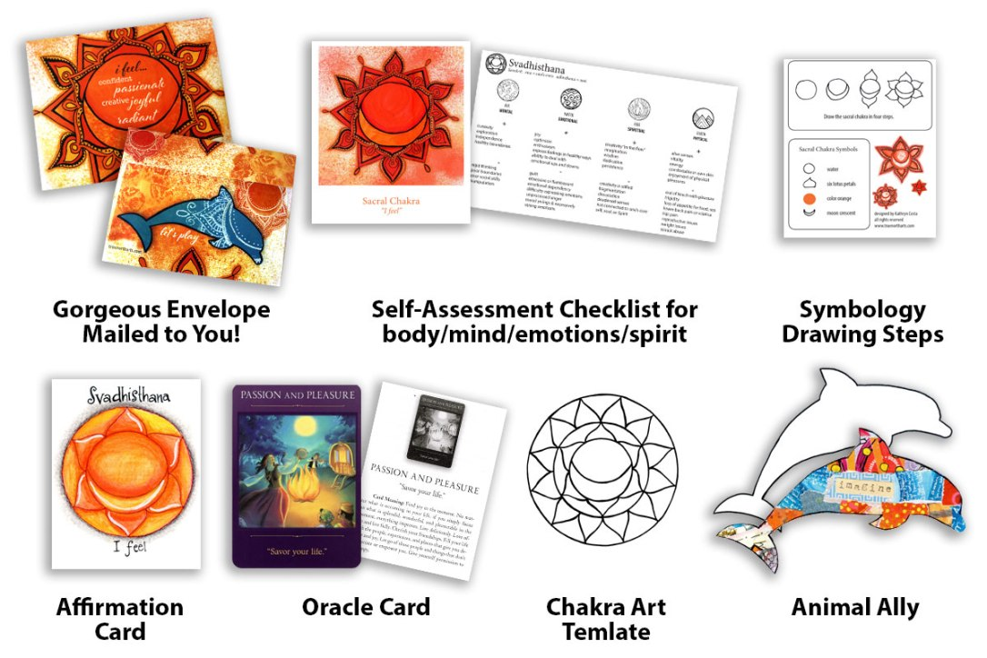 What you get in the mail when you take the Sacral Chakra Workshop with Kathryn Costa.