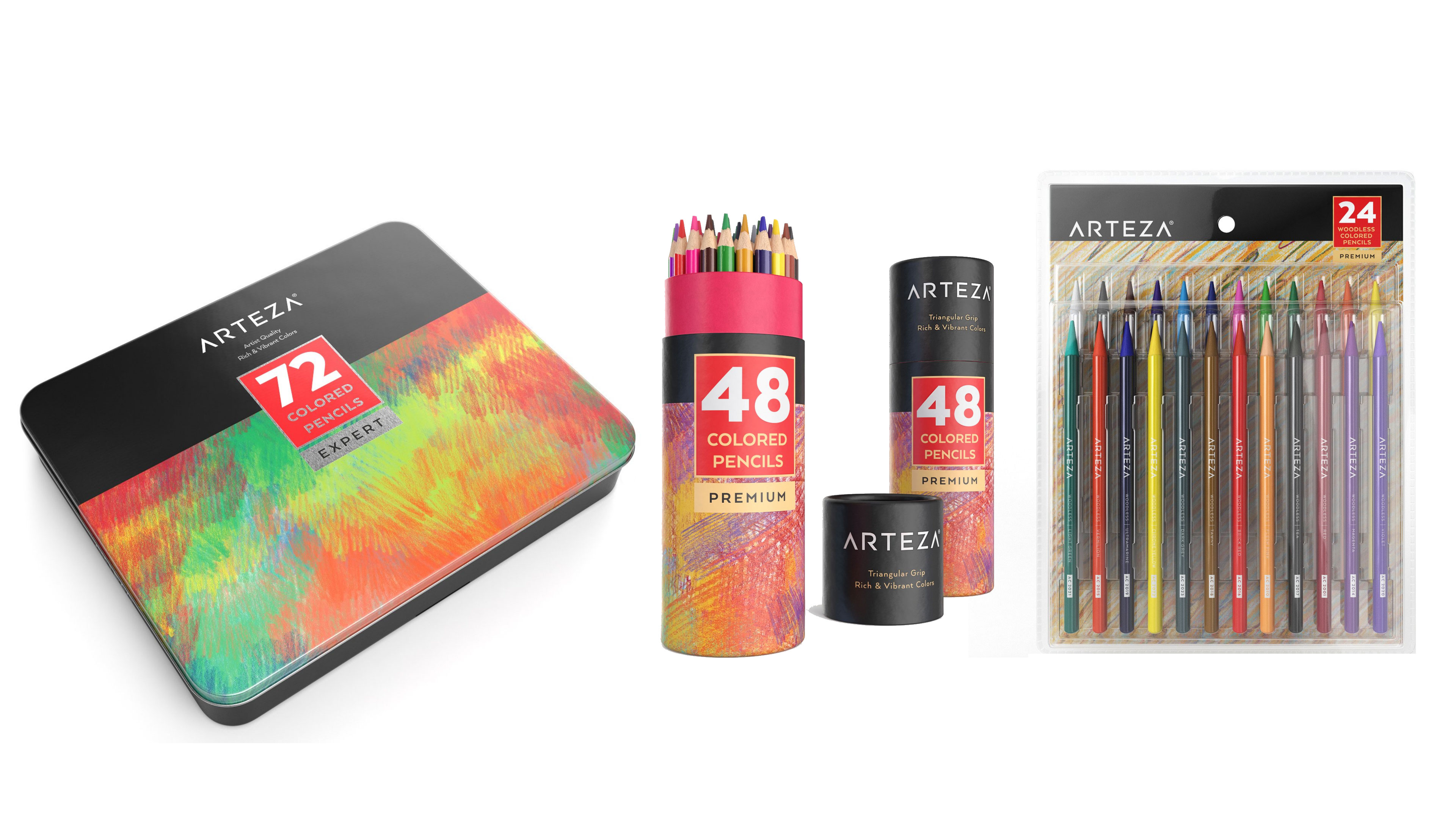 Arteza colored pencils - set of 72, 48 and woodless colored pencils