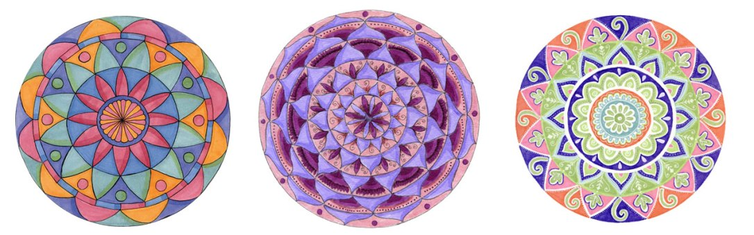 Each participant begins with the same starting point and ends with a unique work of art in the Opening the Door to Mandala Art Lesson.