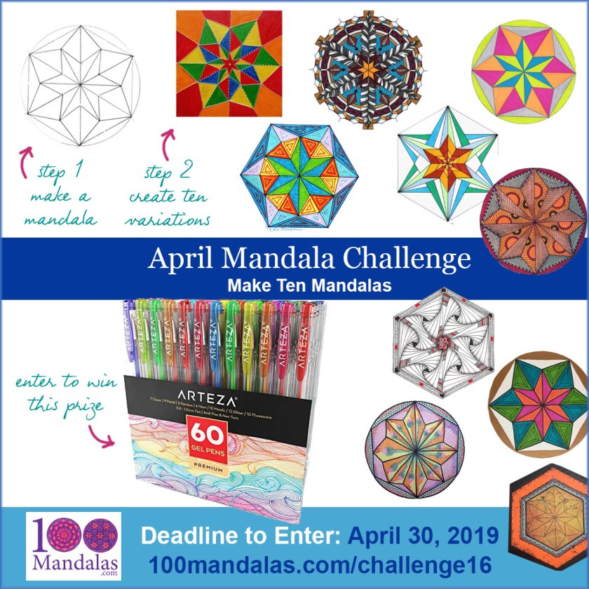 Monthly Mandala Challenge for April - Make Ten Mandalas