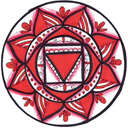 Root Chakra Mandala Art created using the root chakra stencil by StencilGirl Products