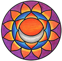 Sacral Chakra Mandala Art created using the sacral chakra stencil by StencilGirl Products