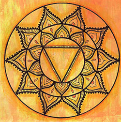 Solar Plexus Chakra Mandala Art created using the solar plexus chakra stencil by StencilGirl Products