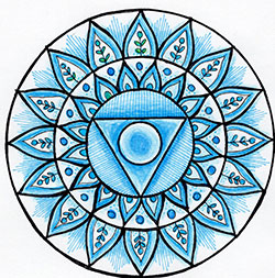 Throat Chakra Mandala Art created using the throat chakra stencil by StencilGirl Products