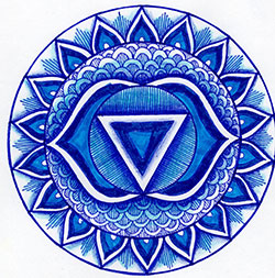 Third-Eye Chakra Mandala Art created using the throat chakra stencil by StencilGirl Products
