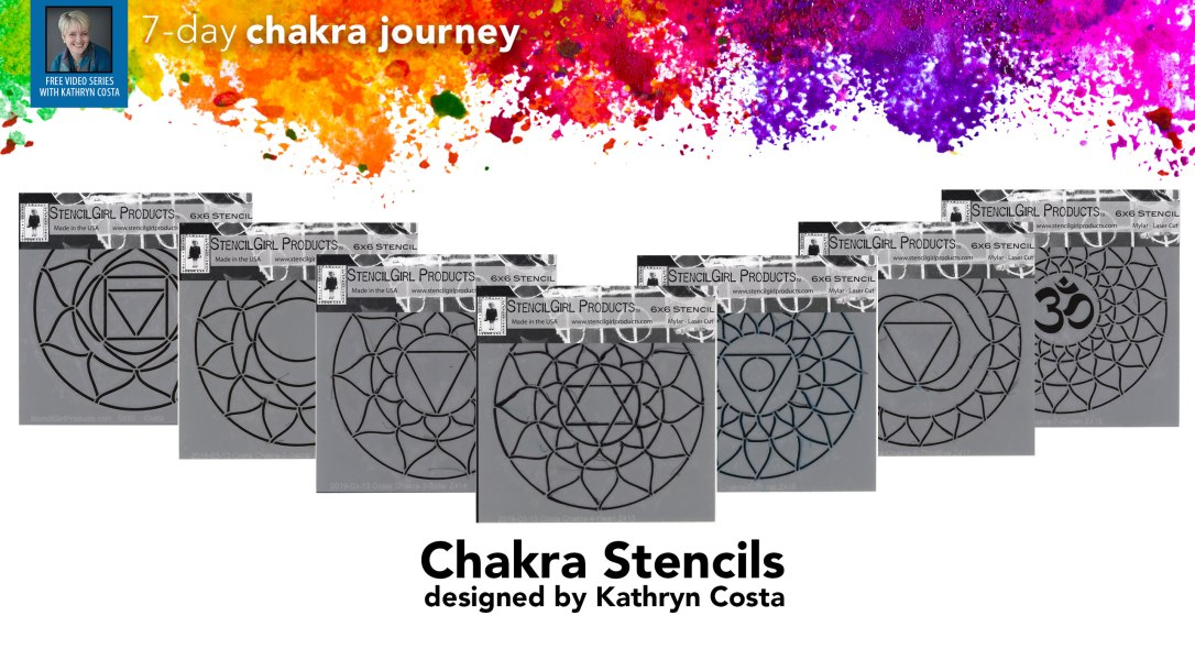 The seven chakra stencil set has the traditional chakra symbol at the center of the stencil and an additional ring of lotus petals to expand on the design. Stencils for the root chakra, sacral chakra, solar plexus chakra, heart chakra, throat chakra, third-eye chakra, and crown chakra.