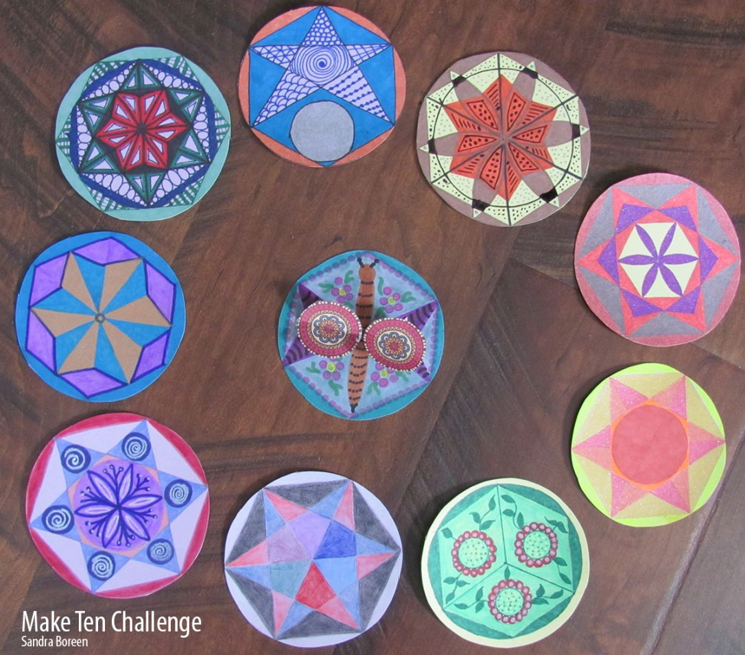 Ten mandalas inspired by the hexagram lesson in the Drawing I course.