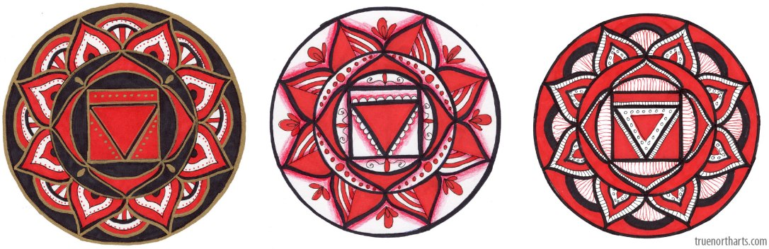 Examples of the Root Chakra Art you can create at The Artisans Exchange in Chelmsford, MA.