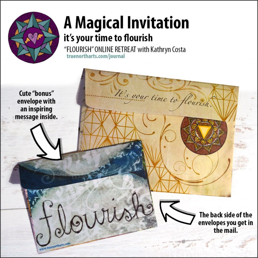 Get these two beautiful and magical envelopes in the mail when you take the Flourish Online Retreat with Kathryn Costa.