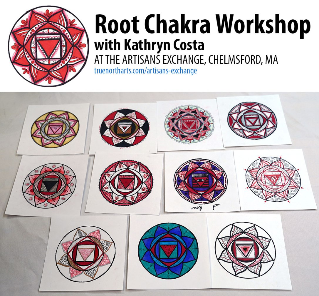 Examples of artwork created in the Root Chakra Workshop at the Artisans Exchange.