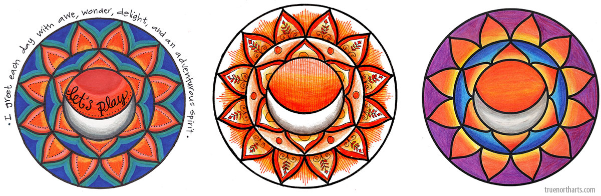 Examples of the Sacral Chakra Art you can create at The Artisans Exchange in Chelmsford, MA.