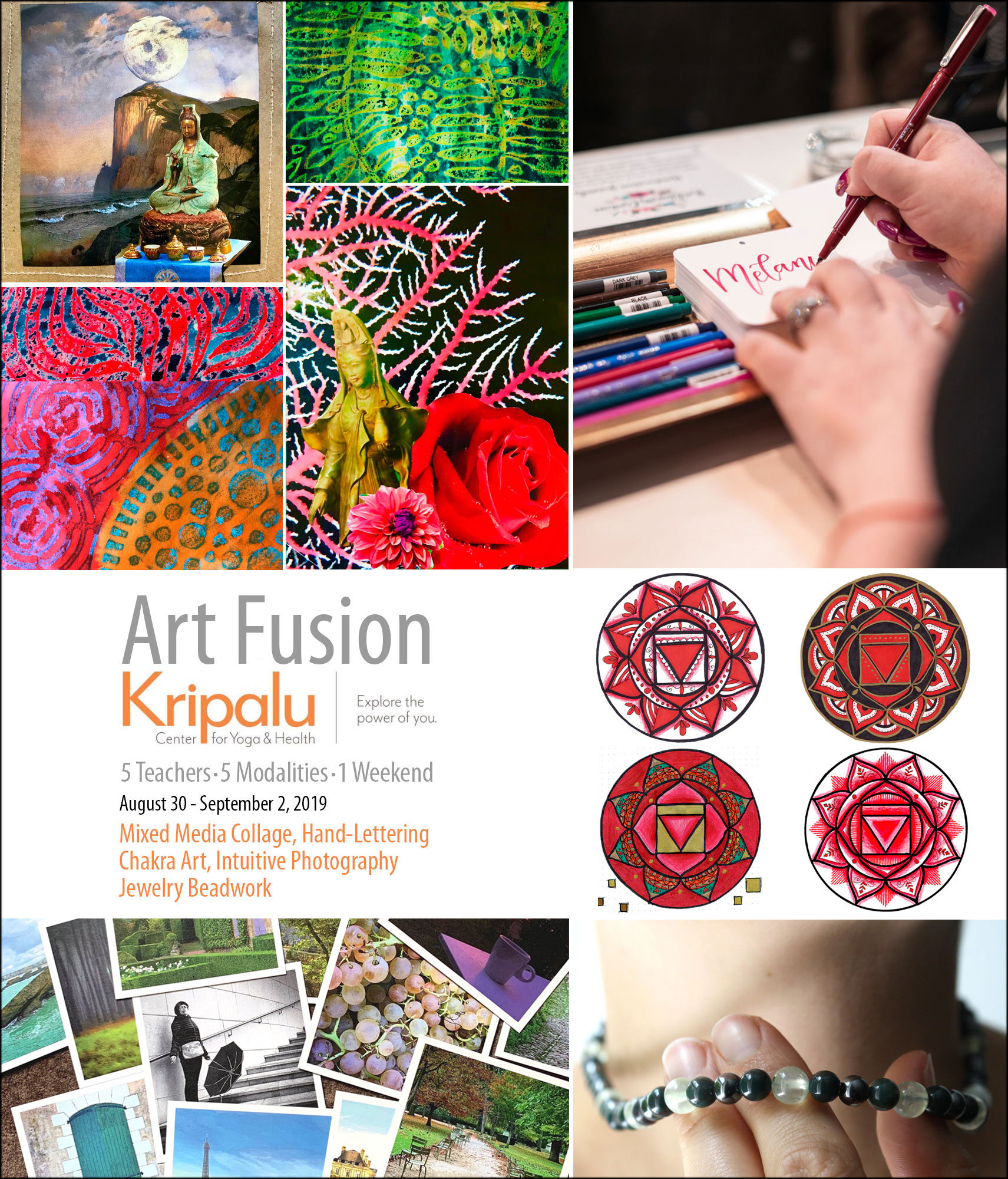 Art Fusion at Kripalu Center for Yoga & Health brings together an ecletic team of skilled instructors for a weekend exploring art and your creativity. Sessions include mixed media collage, hand-lettering, chakra art, intuitive photography, and jewelry beadwork.