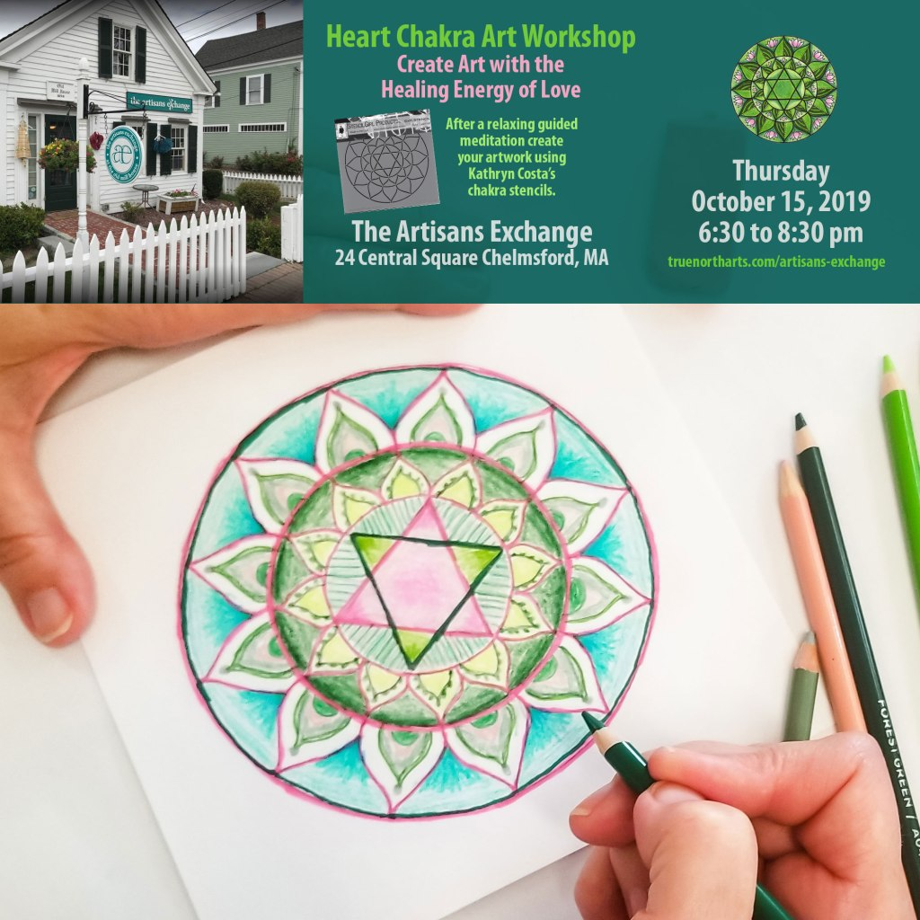 Heart Chakra Art Workshop at the Artisans Exchange in Chelmsford, MA